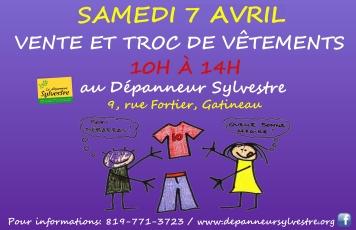 vente et échange vêtements 7 avril